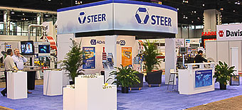 Steer America with a rental island at the 2012 National Plastics Expo in Orlando.